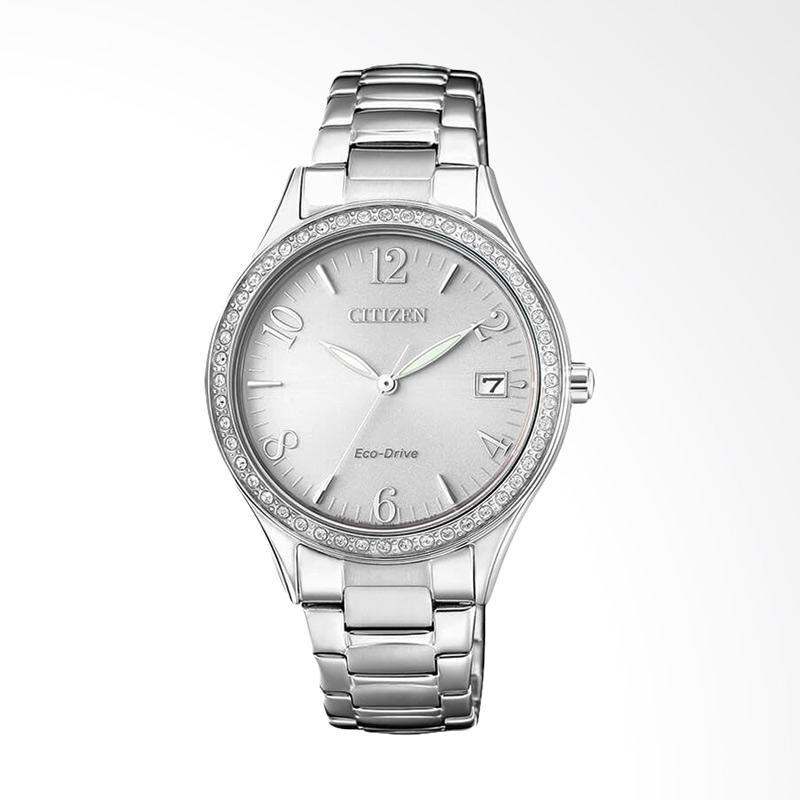 Citizen EO1180-82A Eco-Drive Crystal Elegant Silver Dial Stainless Steel Jam Tangan Wanita - Silver