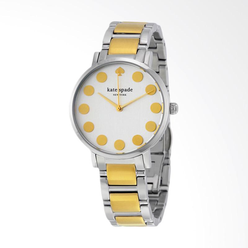 Kate Spade 1YRU0738 Gramercy White Dial Two Tone Stainless Steel Strap Watch Jam Tangan Wanita - Yellow