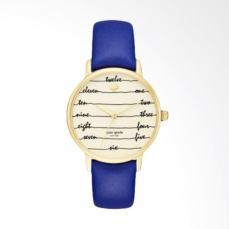 Kate Spade KSW1238 Cobalt Chalkboard Metro Gold Dial Leather Strap Jam Tangan Wanita - Blue