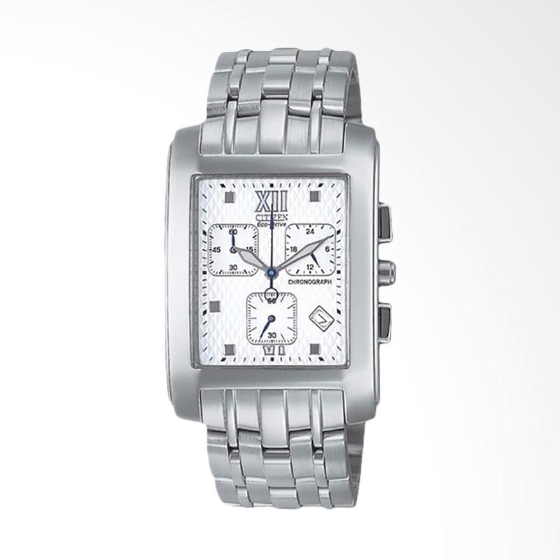 Citizen Eco Drive Men Chronograph White Dial Stainless Steel Watch Jam Tangan Pria AT0017-52A