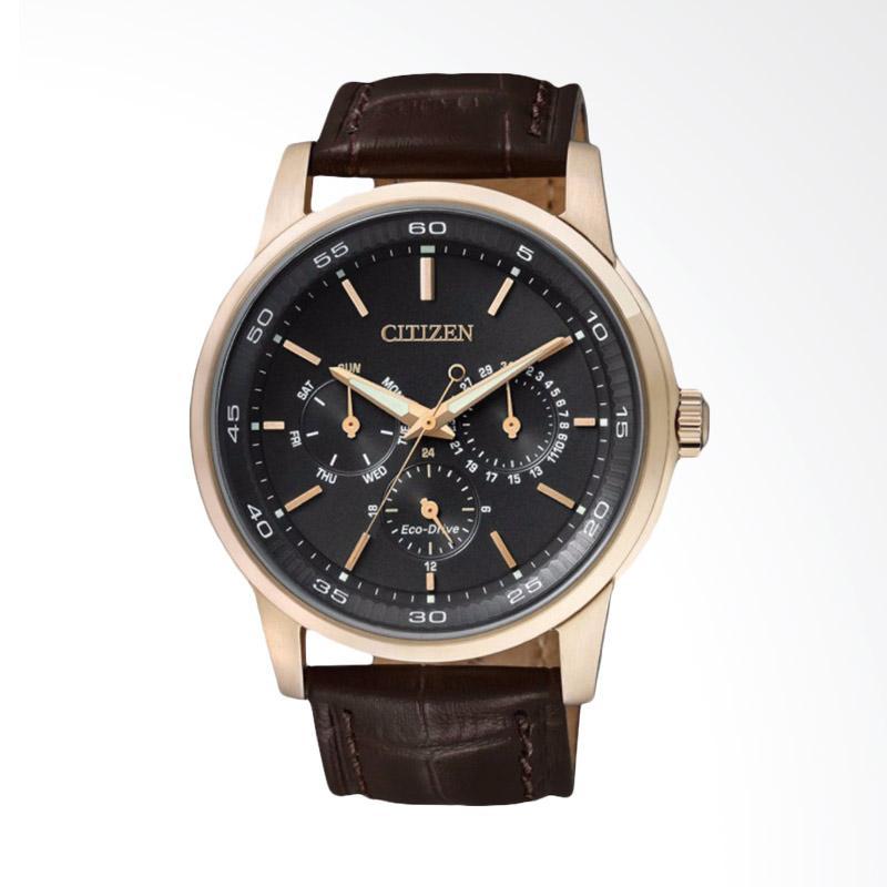 Citizen Eco-Drive Multi-Function Black Dial Brown Leather Strap Jam Tangan Pria BU2013-08E
