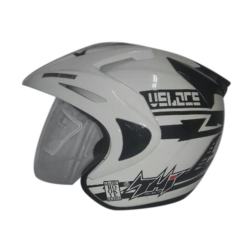THI Helmets Rookie Grafis Veloce Helm Half Face - Putih