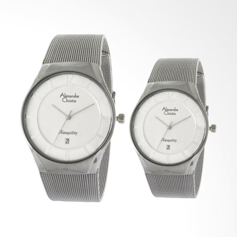 Alexandre Christie Jam Tangan Couple - Silver White [8331]
