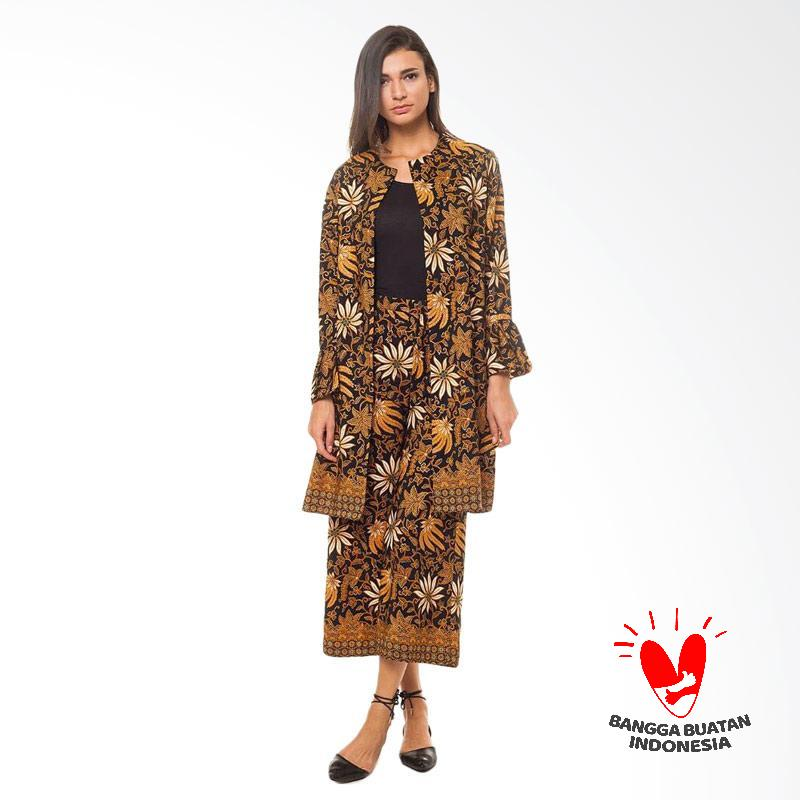 Flike Store Max Long Coat Setelan Batik Wanita Gold Brown