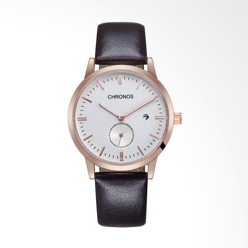 harga CHRONOS Brand Fashion Casual Men's Automatic Date Watch Jam Tangan Pria - White [WT0273W] Blibli.com