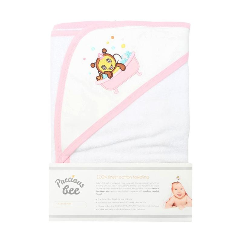 Babybee Precious Bee Hooded Towel - White List Pink