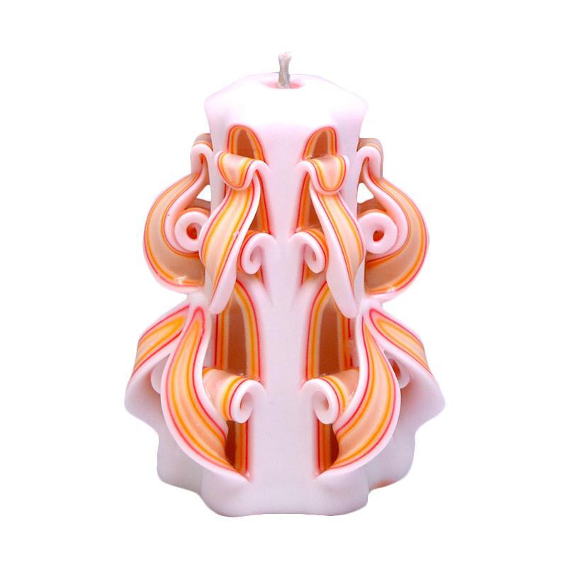 Indische Candle House Orange Blossom Lilin Ukir [4 Inch] Handmade dan Organik Wax