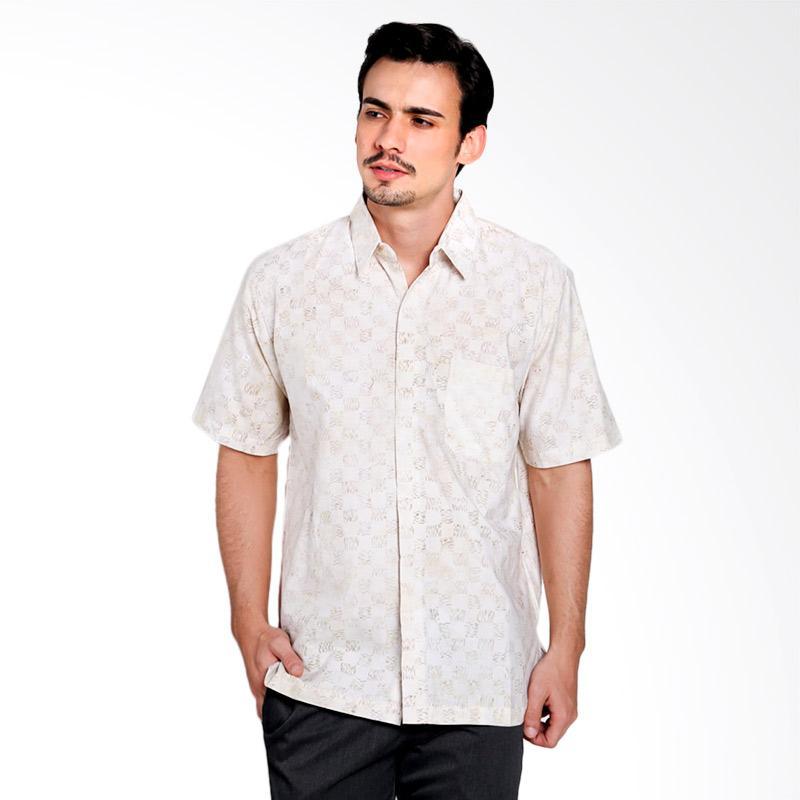 Batik Pria Tampan Kmpd Reg Abs Beige Stripe Check Kemeja Pria - Beige [PKMPD0375]