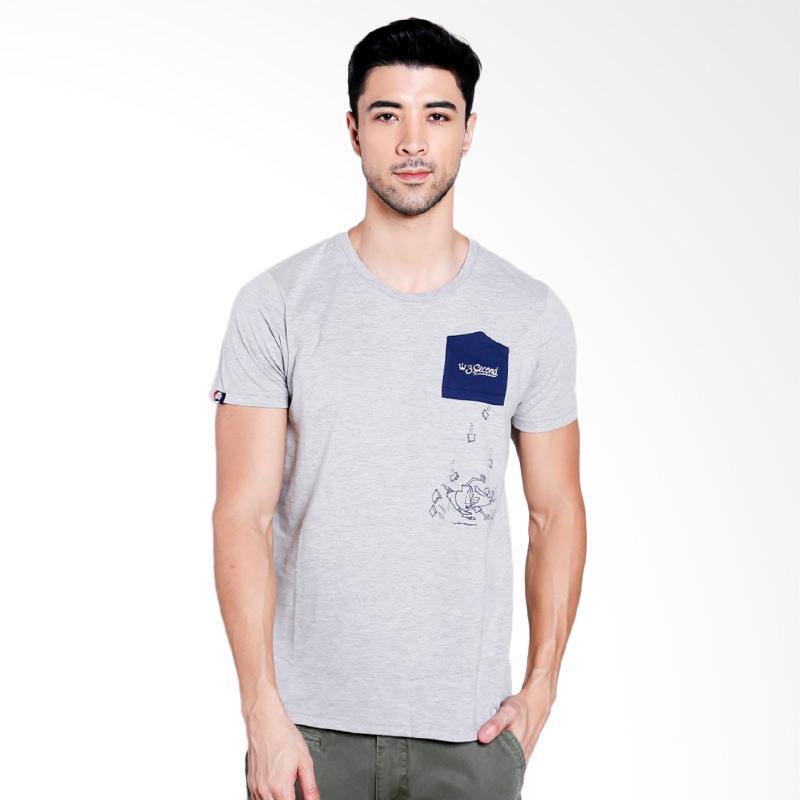 3SECOND Men 0212 T-Shirt Pria - Grey [T02121712]