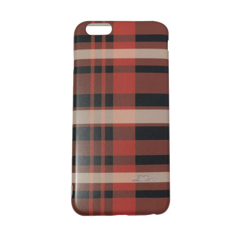 QCF Square Line British Style Softcase Casing for Apple iPhone 6 Plus 5.5 Inch - Red