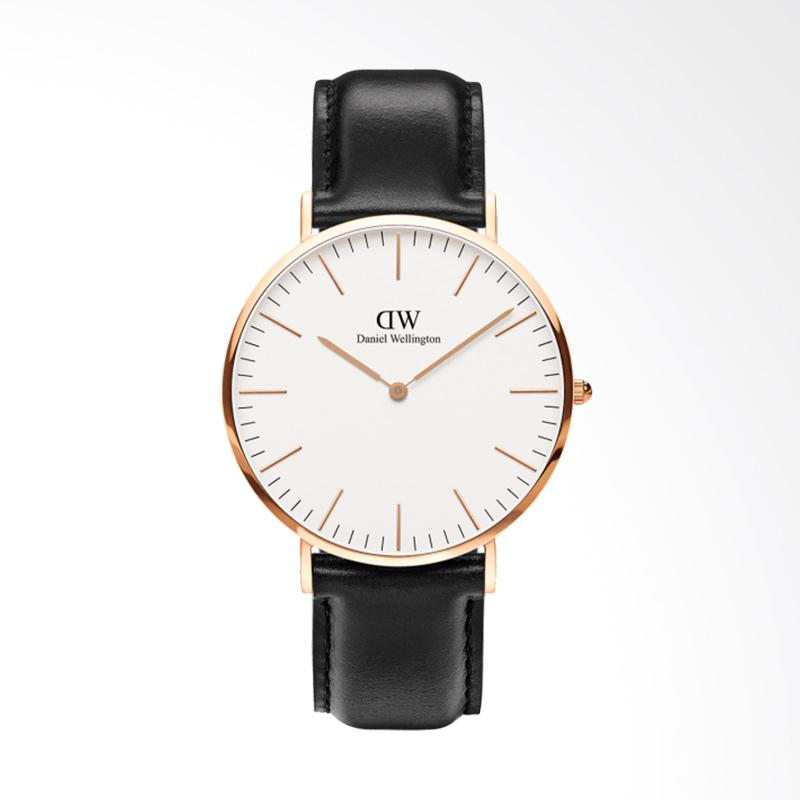 Daniel Wellington Classic Sheffield Rose Gold Strap Kulit Jam Tangan Pria - Rose Gold [40 mm]