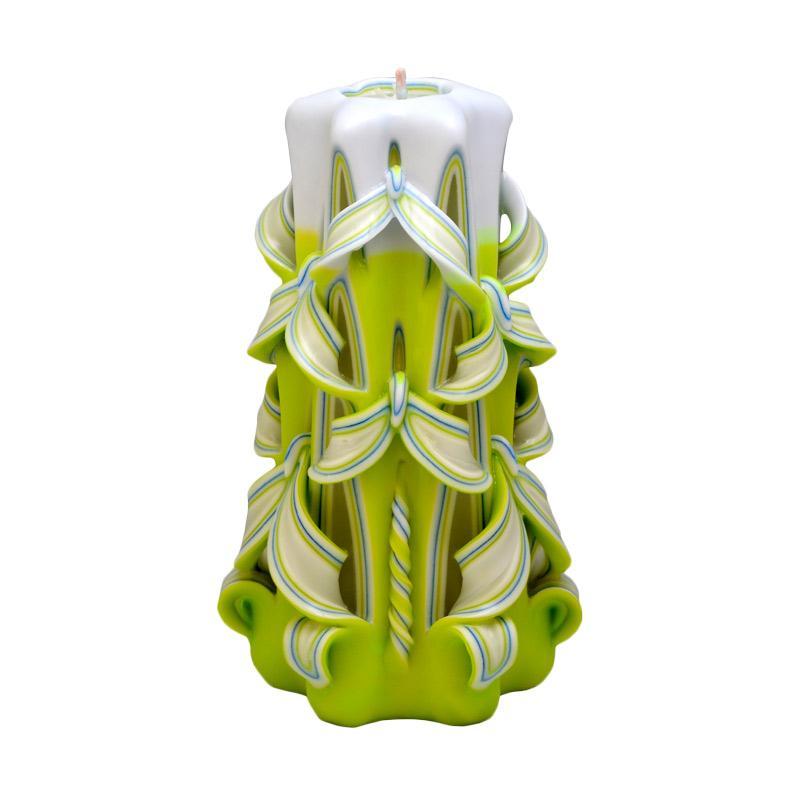 Indische Candle House Peridot August Lilin Ukir [8 Inch] Handmade dan Organik Wax