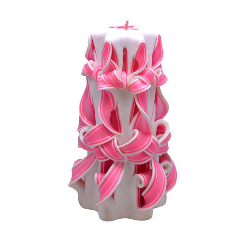 Indische Candle House Pink Desert Lilin Ukir [8 Inch]  Handmade dan Organik Wax