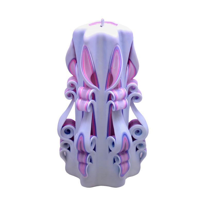 Indische Candle House Pink Ocean Lilin Ukir [8 Inch] Handmade dan Organik Wax