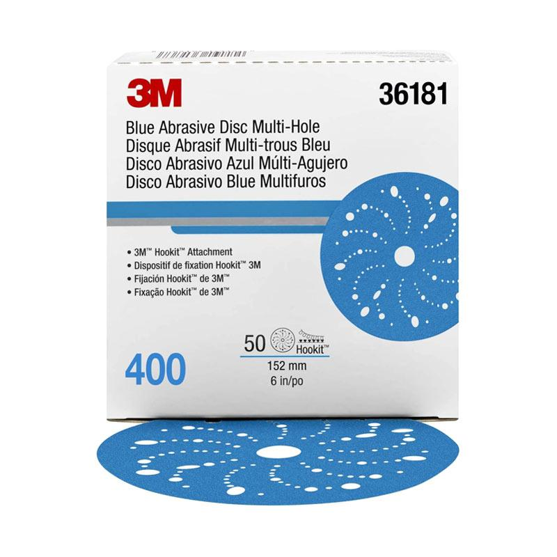 3M PN 36181 Abrasive Disc Multi Hole P-400 Alat Kebersihan Lainnya - Blue [6 Inch]