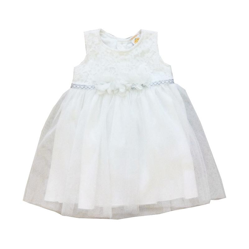 PLEU Brokat Pita Bunga Dress Anak - White