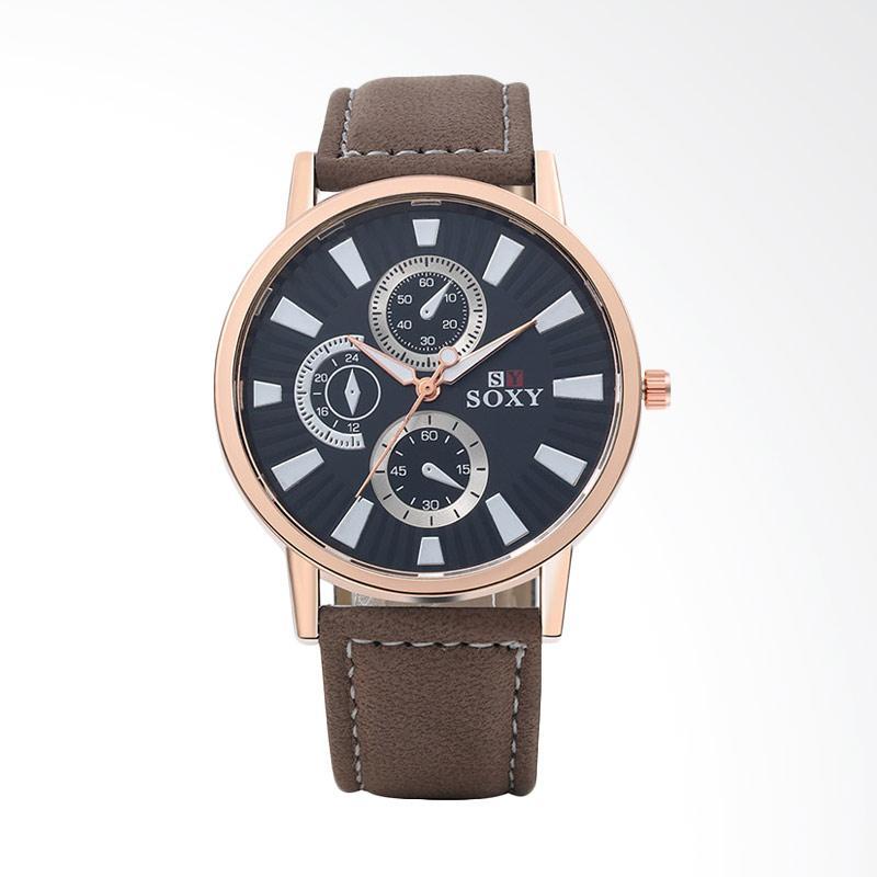 harga SOXY Top Brand Luxury Watch Men's Fashion Sport Watch Leather Strap Quartz Watch Jam Tangan Wanita - Rose Gold [SOXY0048Z] Blibli.com