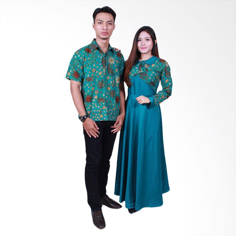Batik Putri Ayu Solo SRG500 Sarimbit Gamis Batik Couple - Hijau
