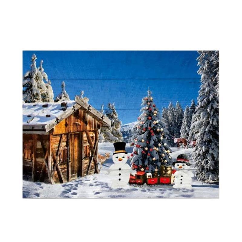 Beli Online Hiasan Natal Pajangan Dinding Poster Kayu Solid Snowing Town Hemat Desember 2017