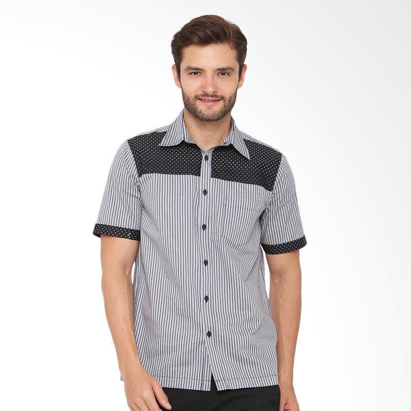 A&D Fashion Stripe Short Sleeve Mens Shirt Kemeja Pria - Black [Ms 889]