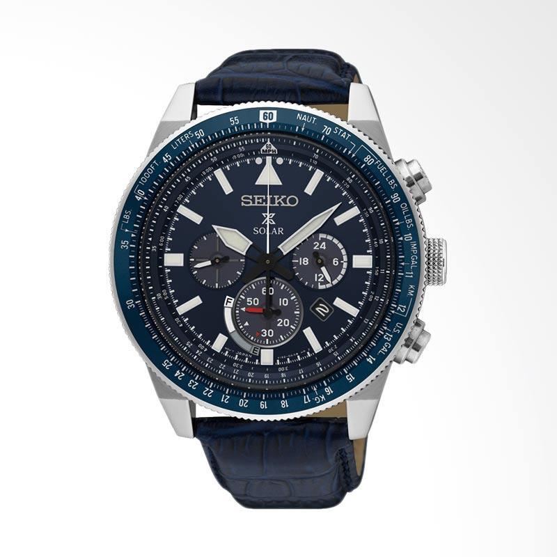 Seiko Prospex Sky Solar Chronograph Leather Watch Jam Tangan Pria - Blue [SSC609P1]