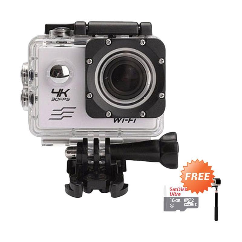 harga Third Party SJ8000 WiFi Action Camera [4K Ultra HD/ 16 MP] + Free Sandisk Ultra Memory Card 16 GB + Monopod Blibli.com