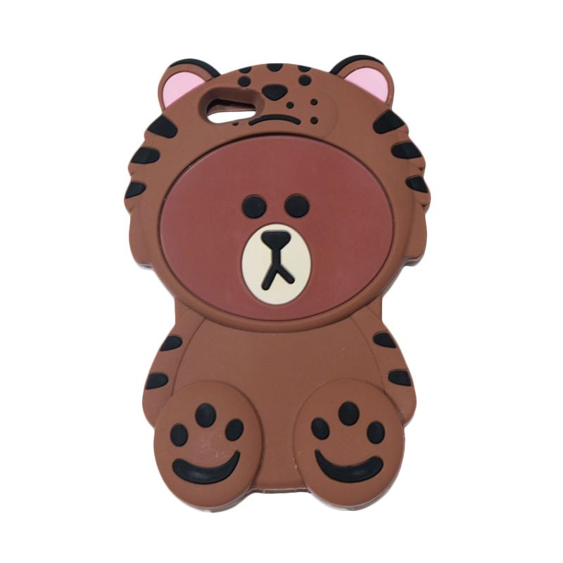 QCF 4D Karakter Beruang Kostum Singa Silicone Softcase Casing for Oppo F1S Selfie Expert or A59 - Coklat