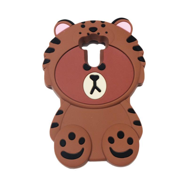 QCF 4D Karakter Beruang Kostum Singa Silicone Softcase Casing for Xiaomi Redmi 4 or 4 Prime - Coklat