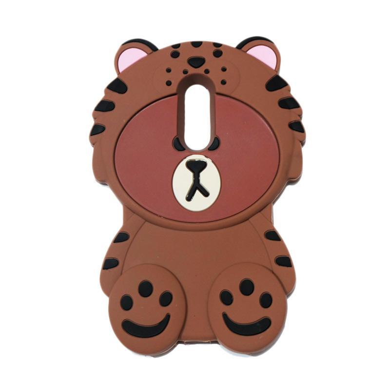 QCF Softcase 4D Karakter Beruang Kostum Singa Silicone Casing for Xiaomi Redmi Note 4 Pro - Coklat