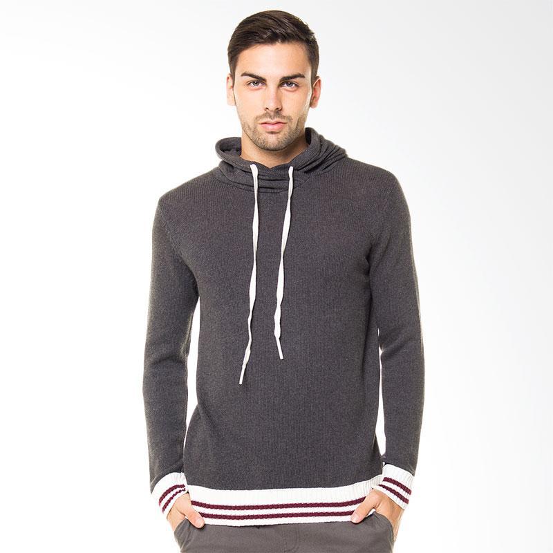 Tendencies Sweater Knitted Hoodie Sweater Pria - Abu Tua