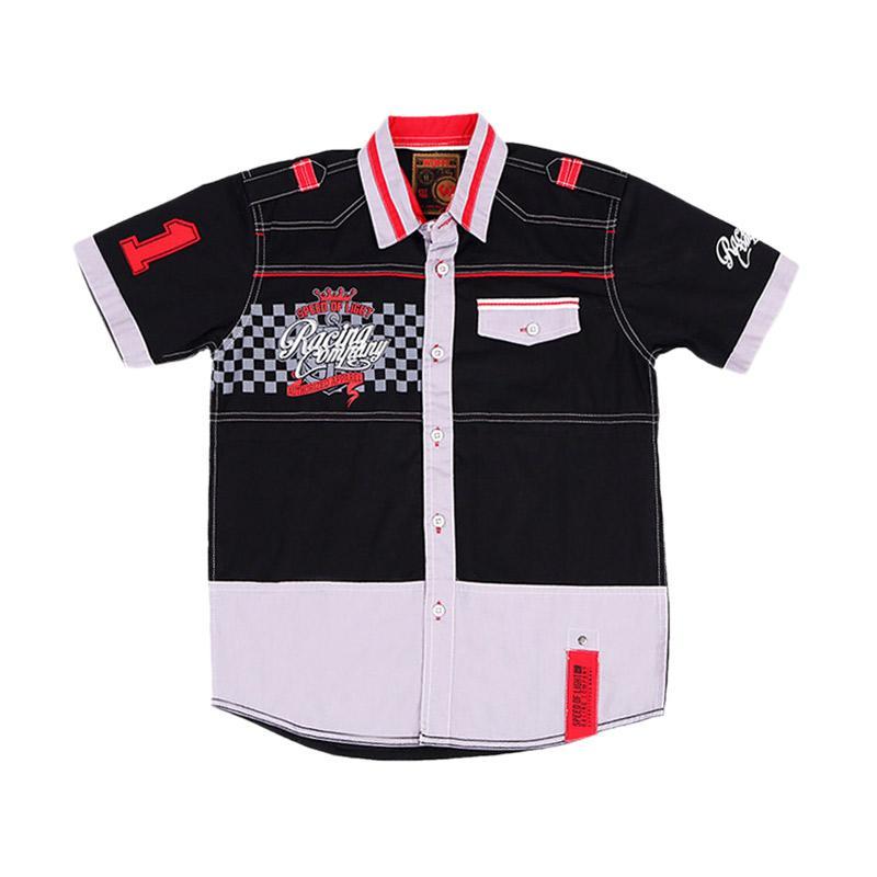 Woffi HK5-04-741 Racing Kemeja Pendek Baju Atasan Anak - Hitam