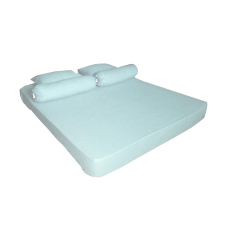 Tren-D-home Polos Series Katun Polyester Set Sprei - Biru Muda Pastel [180 cm x 200 cm x 20 cm]