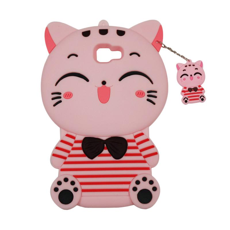 QCF Softcase 4D Karakter Kucing Lucky Cat Pink Silicone 4D Casing for Samsung Galaxy J7 Prime - Pink