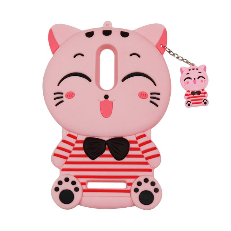 QCF Softcase 4D Karakter Kucing Lucky Cat Pink Silicone 4D Casing for Xiaomi Redmi Note 4X - Pink