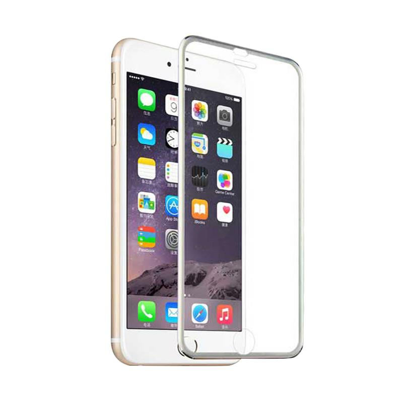 QCF Tempered Glass Ring Besi Aluminium Screen Protector for Apple iPhone 6 / iPhone6 / Iphone 6G / 6S 4.7 Inch Pelindung Layar - Silver