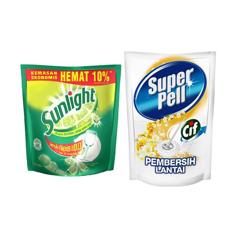 SUNLIGHT Lime Refill [1200 mL/ 67162062] dan Super Pell Gold Refill [800 mL]