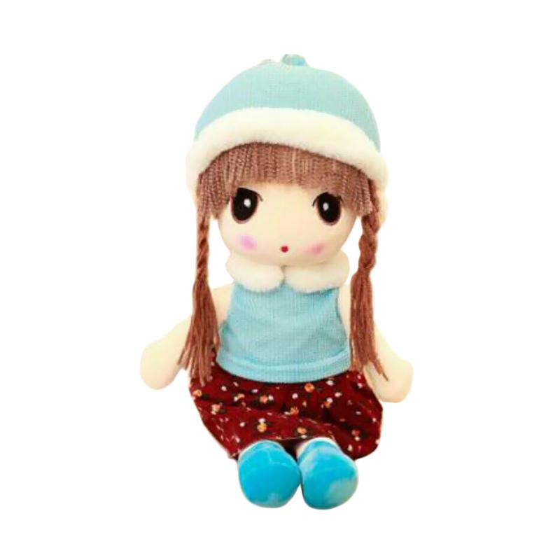 Boneka Murah Lucu Girl Import Topi Winter Boneka - Blue