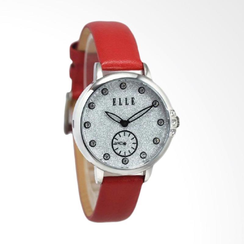 Voucher Elle EL20392S01C Jam Tangan Wanita Leather Strap - Merah Silver