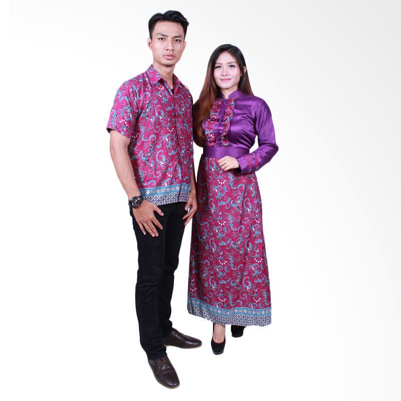 Batik Putri Ayu Solo SRG505 Batik Sarimbit Gamis - Ungu