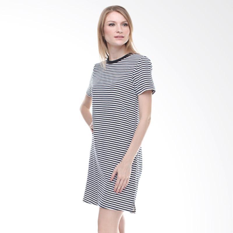 Halcyon Basic Stripe Dress - Black White