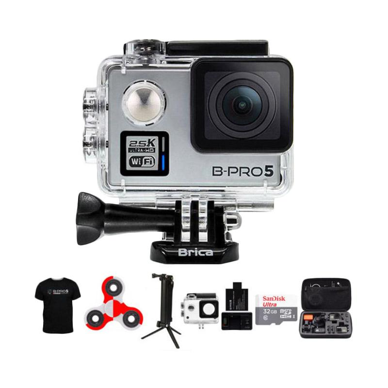 Brica B-PRO 5 Alpha Plus 2 (AP2) Action Cam with Combo 3 Way Extreme SpinIndo - Silver