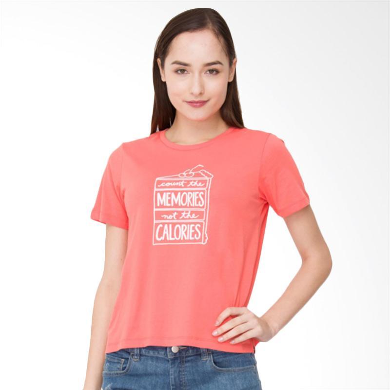 Bossini 02083009020 S/S R/NK BL 23 Fashion Body Print Tee Atasan Wanita - Salmon
