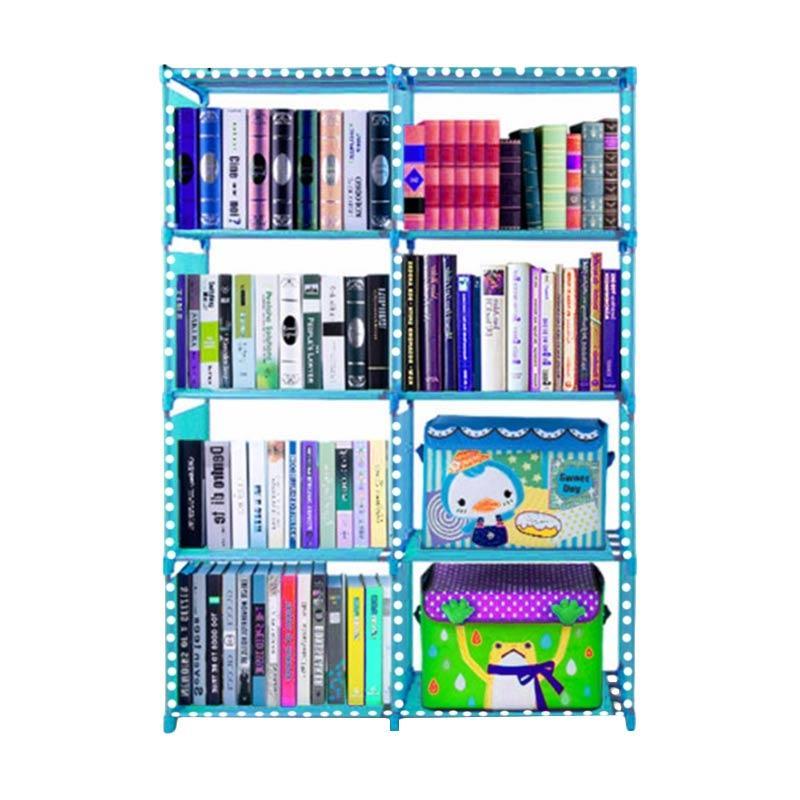 SJHOP 2 Sisi Rak Buku Serbaguna - Polkadot Blue [85 x 30 x 125 cm]