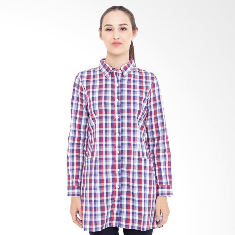 harga Mobile Power MPL273 Ladies Basic Plaid Shirt Atasan Wanita - Blue Red Blibli.com