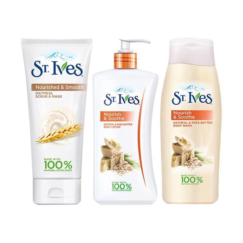 Paket St Ives Nourish Soothe Oatmeal Shea Butter Paket Perawatan Tubuh