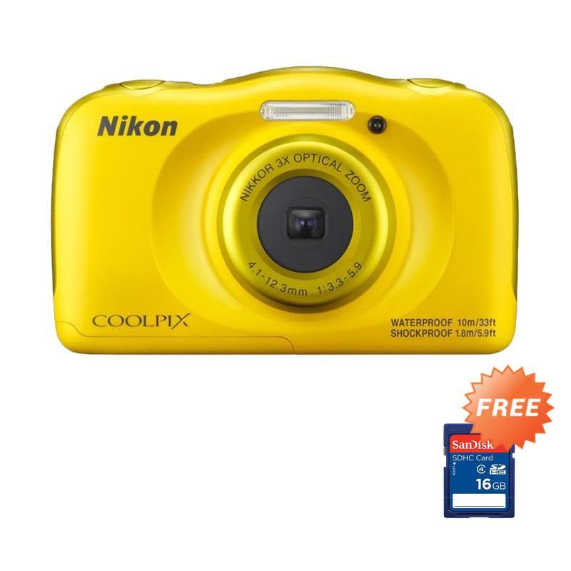 harga Nikon Coolpix W100 Pocket - Kuning RESMI + FREE Sandisk SDHC 16GB Blibli.com