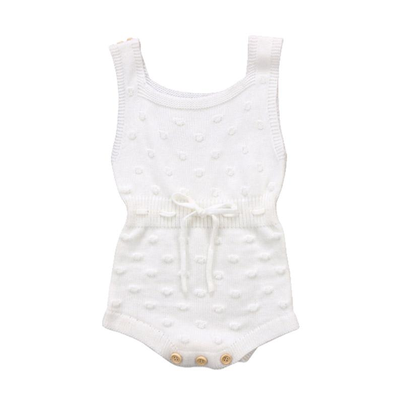 Autumn Knitted Overalls Baju Jumpsuit - White
