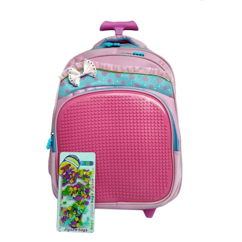 Powa 0930010753 Trolley Backpack Pixel Pita Tas Anak - Pink