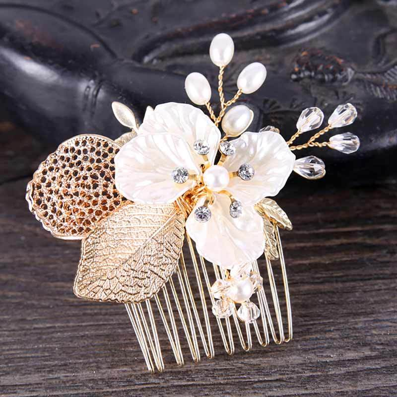 Fashion Women`s Gold Crystal Rhinestones Flower Alloy Party Hair Clip Hairpin