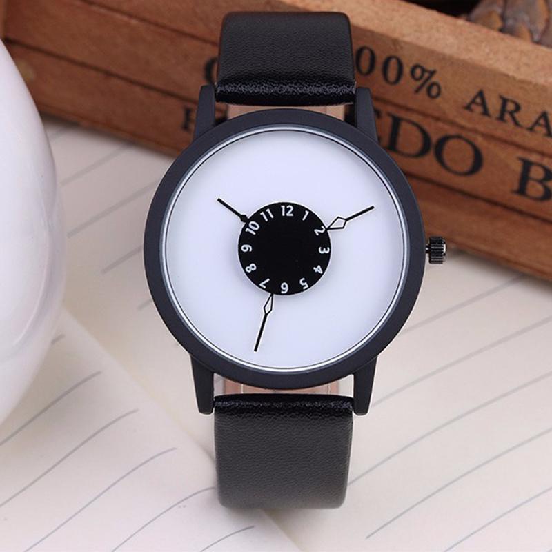 Jual Fashion Creative Unique Dial Design Leather Watch Women Men Quartz Lovers Wristwatches Clock Online September 2020 Blibli Com